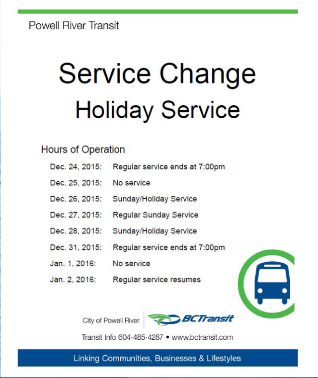 PR Transit Xmas hours