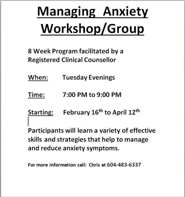 anxiety workshop poster