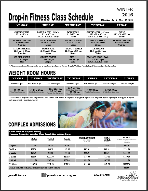 winter fitness program schedule