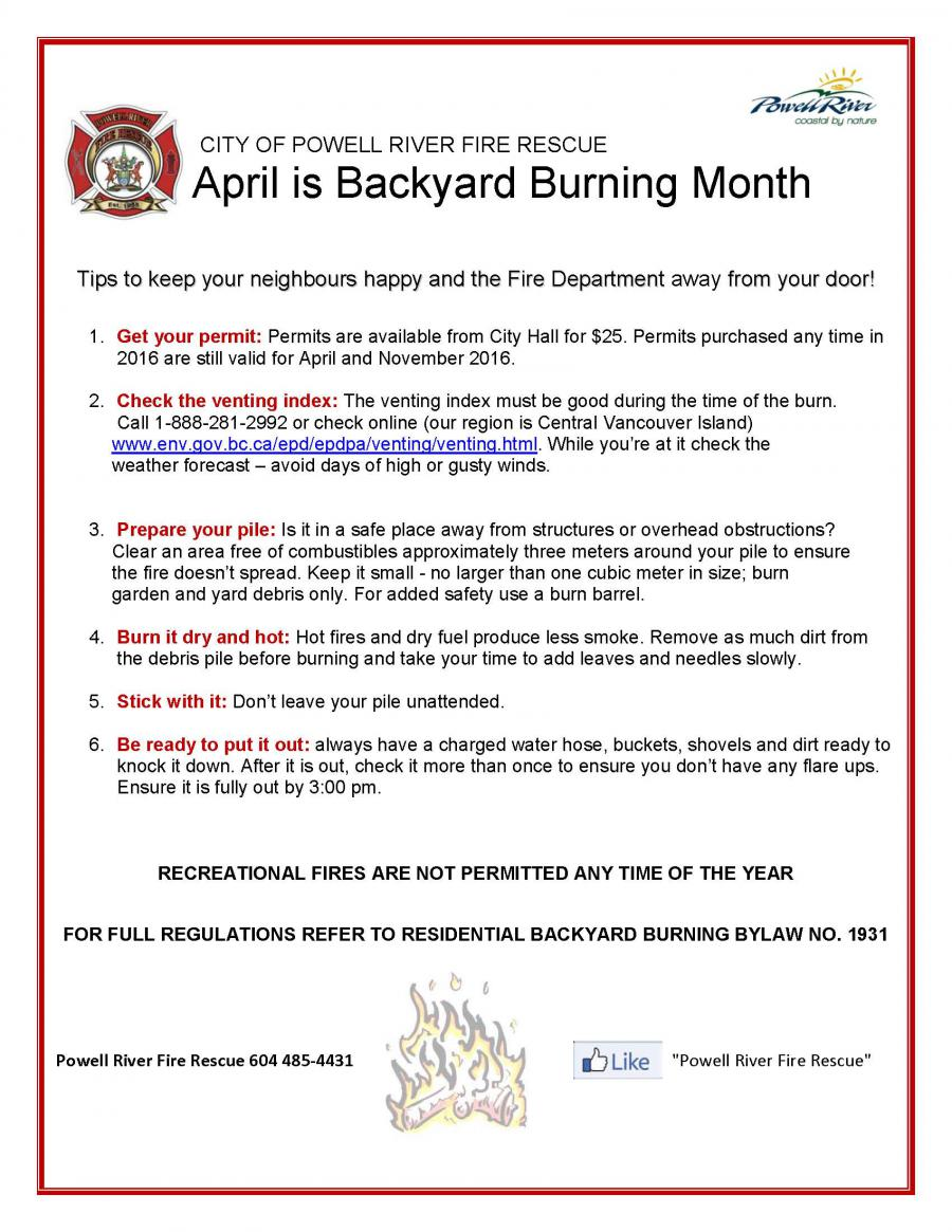 april u2013 backyard burning month powell river today